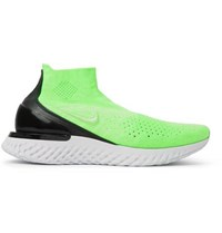Nike Running Rise React Flyknit Slip On Running Sneakers Green