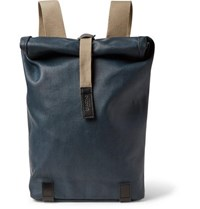 Brooks England Pickwick Small Leather Trimmed Cotton Canvas Backpack Blue