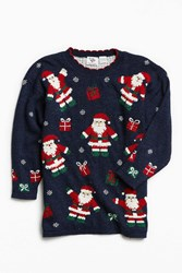 Urban Outfitters Vintage Holiday Santa Pattern Sweater Navy