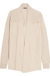 Splendid Ridge Frayed Knitted Cardigan Beige