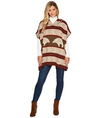 Pendleton Knit Poncho With Hood Star Guardian Sweater Beige