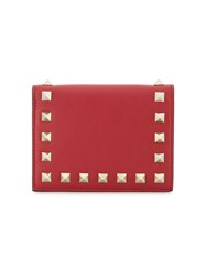 Valentino Rockstud Card Holder Wallet Women Leather Metal One Size Red