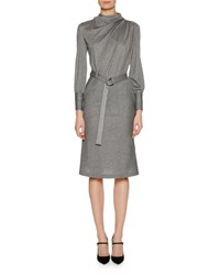 Giorgio Armani Long Sleeve Belted Pinstriped Jersey Dress Gray