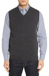 Nordstrom Men's Big And Tall Men's Shop Cashmere V Neck Sweater Vest Grey Dark Charcoal Heather