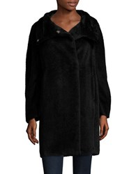 Marella Alpaca And Wool Asymmetrical Zip Coat Black
