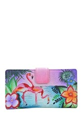 Anuschka Hand Painted Leather Two Fold Organizer Wallet Multi