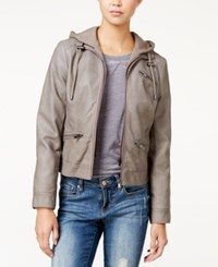 American Rag Knit Hood Faux Leather Jacket Only At Macy's Grey