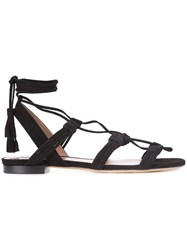 Tabitha Simmons Lace Up Sandals Women Leather Suede 37.5 Black