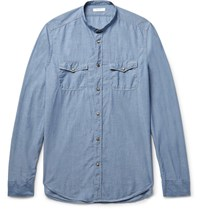 Boglioli Slim Fit Grandad Collar Cotton Chambray Shirt Blue