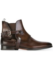 Santoni Strap Detail Ankle Boots Brown