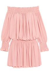 Norma Kamali Off The Shoulder Ruffled Smocked Stretch Jersey Dress Pastel Pink