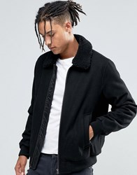 Asos Wool Mix Bomber Jacket With Borg Collar In Black Black