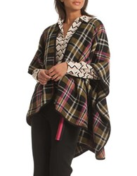 Trina Turk Gailina Oversized Plaid Cape Multi