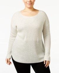 Inc International Concepts Plus Size Two Tone High Low Sweater Only At Macy's Grey