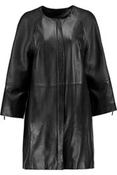 Amanda Wakeley Textured Leather Coat Black