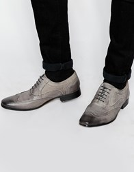 Asos Oxford Brogue Shoes In Grey Leather With Contrast Sole