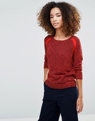 Shae Marseille Rib Knit Jumper Citric Acid Combo Red
