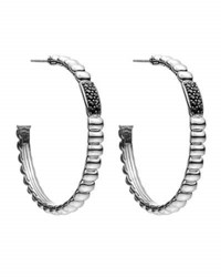 John Hardy Bedeg Rippled Black Sapphire Hoop Earrings Medium