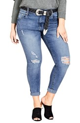 City Chic Plus Size Women's Ripped Up Skinny Jeans Light Denim