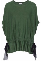 Red Valentino Silk Georgette Paneled Wool Silk And Cashmere Top Army Green