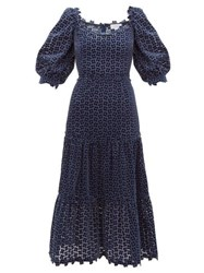 Luisa Beccaria Embroidered Broderie Anglaise Velvet Dress Navy
