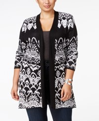 Belldini Plus Size Jacquard Knit Cardigan Black White