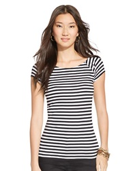 Lauren Ralph Lauren Striped Ballet Neck Shirt Black White