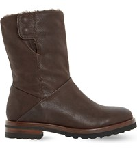 Dune Rayner Shearling Lined Boots Brown Leather