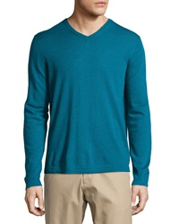 Neiman Marcus Wool V Neck Modern Fit Sweater Peacock