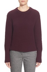 Pink Tartan Tubular Cuff Wool And Cotton Sweater Oxblood