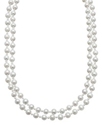 Belle De Mer Pearl Necklace Sterling Silver Cultured Freshwater Pearl Two Row Strand Black