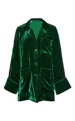 Elie Saab Velvet Jacket With Lace Inserts Green