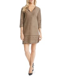 Karen Kane Laser Cut Faux Leather Shift Dress Mushroom