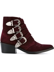 Toga Pulla Western Buckle Ankle Boots Red