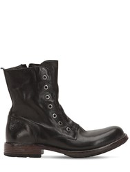 Moma Leather Boots With Eyelets Black