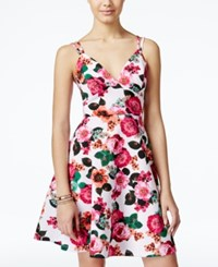 Xoxo Juniors' Floral Print Lattice Back Fit And Flare Dress White Pink Multi