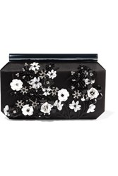 Oscar De La Renta Saya Appliqued Satin Clutch Black