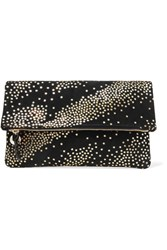 Clare V. Star Print Suede Clutch Black
