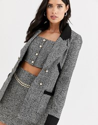 Fashion Union Boucle Tailored Blazer Co Ord With Contrast Collar And Cuff Multi