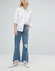 Evidnt Raw Hem Crop Flare Jean Fairfax Blue