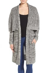 Women's Leith Shawl Collar Long Cardigan Black Marl