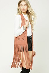 Forever 21 Fringed Faux Suede Vest Salmon