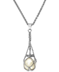 Effy Collection Pearl Lace By Effy Cultured Freshwater Pearl Cage Pendant Necklace In Sterling Silver 11 1 2Mm White