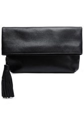 Michael Kors Collection Woman Tassel Trimmed Leather Clutch Black