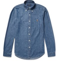 Polo Ralph Lauren Slim Fit Washed Cotton Chambray Shirt Blue