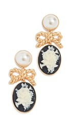 For Love And Lemons Imitation Pearl Cameo Earrings Ghost
