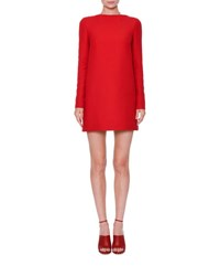 Valentino Long Sleeve Crepe Couture Dress Red
