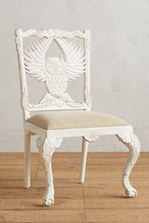 Anthropologie Handcarved Menagerie Owl Dining Chair White