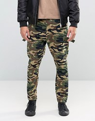 Asos Drop Crotch Trousers With Taping In Camo Khaki Green