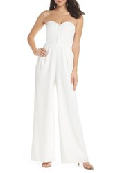 Joanna August Aretha Strapless Jumpsuit White